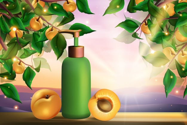 Apricot cosmetics skincare product illustration.