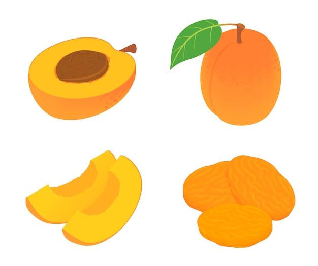 Набор иконок абрикос, изометрический стиль