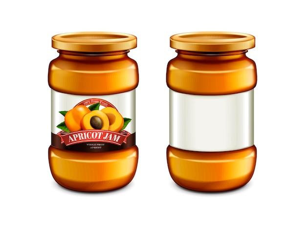 アプリコット ジャムのガラス瓶、ラベル付きのパッケージ デザイン、容器のモックアップ
