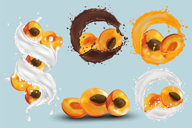 Apricot juice, apricot in chocolate, milk splash. collection fresh apricot. sweet dessert. 3d realistic apricot. vector illustration