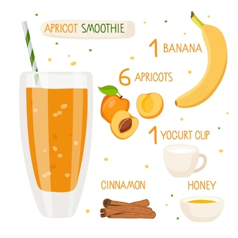 Apricot smoothie recipe apricot glass with ingredients glass with orange liquid fruits cup