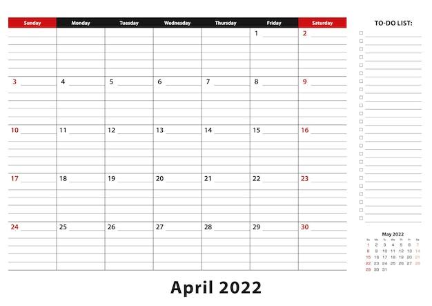 Апрель 2022 г. ежемесячная неделя настольного календаря начинается с воскресенья, размер a3.