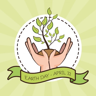 April 22 earth day, hands with plant, illustration