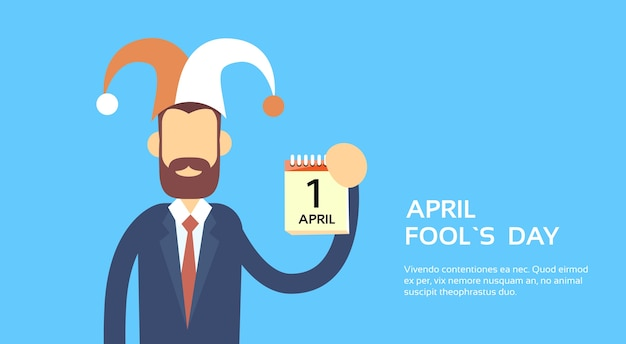 April fool day holiday banner copy space