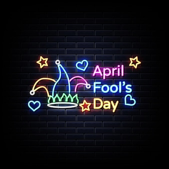 April fool day neon sign on black wall
