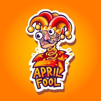 April fool mascot illustration