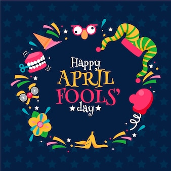 April fool's day hand drawn elements and lettering