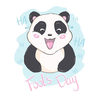 April fool's day message with cute panda