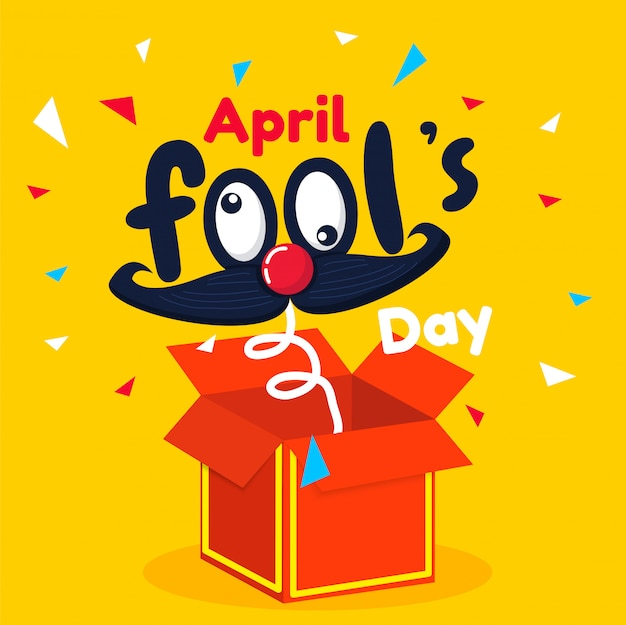 April fool's day text and funny red box