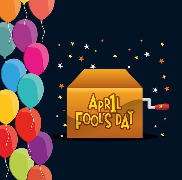 4月の愚か者の日のボックス星の風船のお祝い