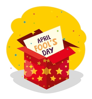 April fools day and box with stars