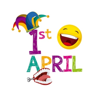 April fools day card with jester hat and happy emoji