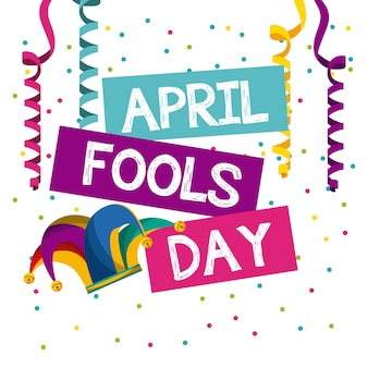 April fools day card with jester hat icon
