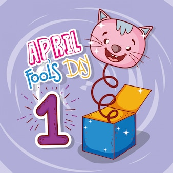 April fools day celebration with cat box