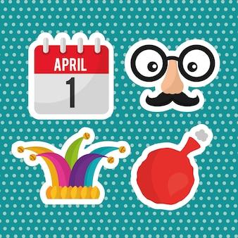 4月の愚か者の日のコレクション装飾のアイコン