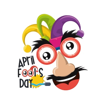 April fools day design with comic face with jester hat icon