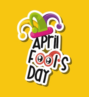 April fools day design with jester hat icon