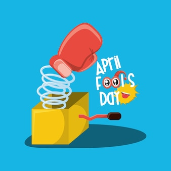 April fools day design with joke box with boxing glove icon