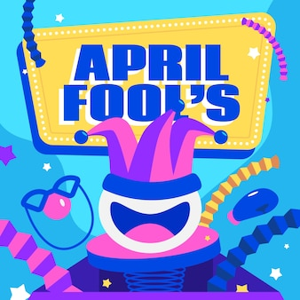 April fools day event flat design
