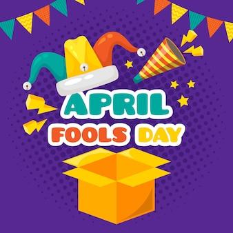 Апрельский день дураков плоский стиль