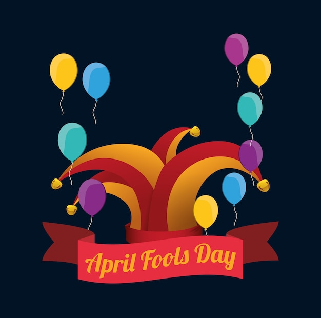 April fools day hat joker balloons background