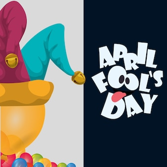 April fools day hat joker balloons celebration card