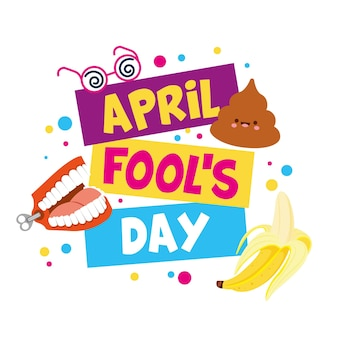 April fools day illustration with emojis and confetti.  illustration