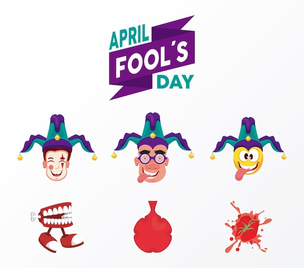 April fools day lettering with six illustration
