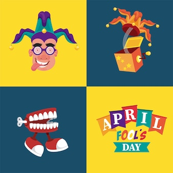 April fools day lettering with three illustrations