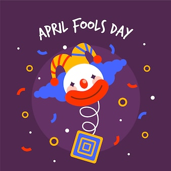 April fools day with clown and confetti