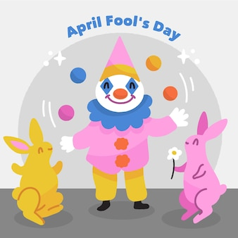 April fools day with clown and rabbits