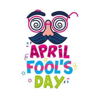 April fools day with comic face isolated.  illustration