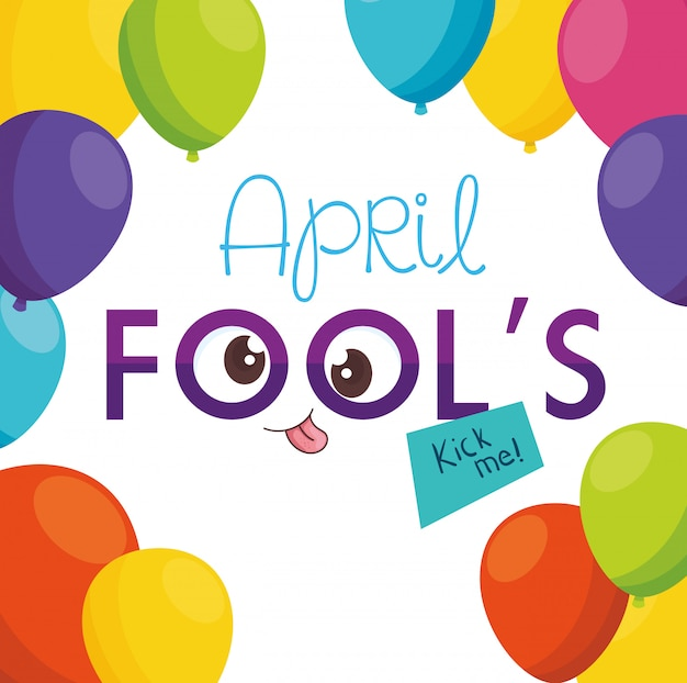 April fools day with crazy eyes and balloons helium