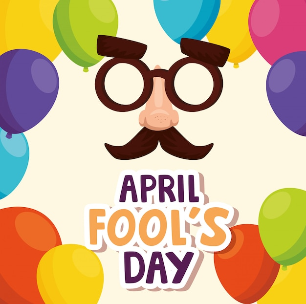 April fools day with crazy mask and decoration