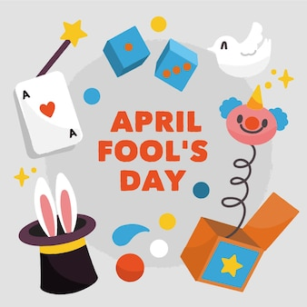 April fools day with dice and clown