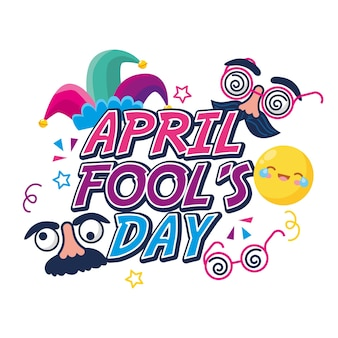 April fools day with emojis and comic face and hat.  illustration