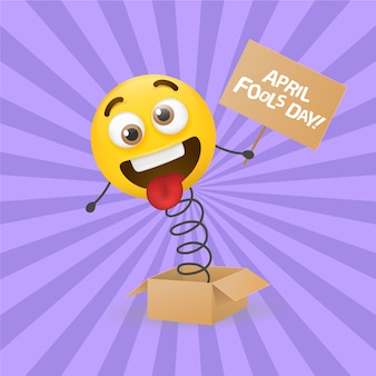 April fools day with realistic emoji
