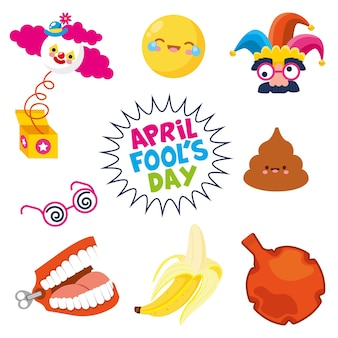 April fools day with surprise box banana poo comic face isolated.  illustration