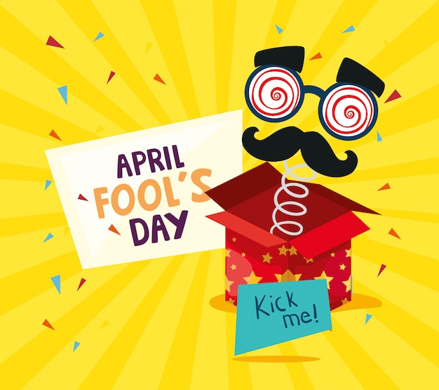 April fools day with surprise box and crazy mask