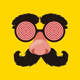 エイプリルフールメガネ、口ひげと鼻