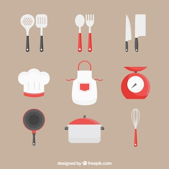 Apron collection with other kitchen utensils