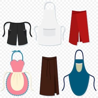 Aprons for man and woman cartoon icons set isolated transparent
