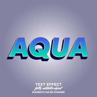 Aqua 3d text effect with awesome gradieny color