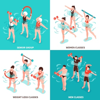Aqua aerobics men and women classes senior group for persons losing weight isometric illustration set