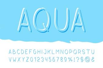 Aqua brush sans serif font