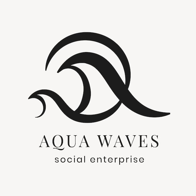 Modello di logo aziendale aqua, vettore di design piatto nero creativo professionale