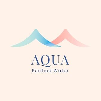 Modello di logo aziendale aqua, azienda idrica, vettore di design piatto pastello creativo