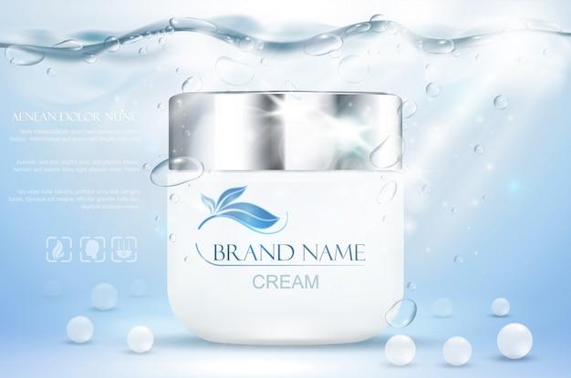 Аква крем увлажняющий косметический. реклама реалистичный подводный синий шаблон. продвижение по уходу за кожей. увлажняющий лосьон для лица. иллюстрация
