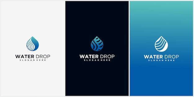 Aqua linear logo design luxury monoline water logo and creative water logo with business card displ