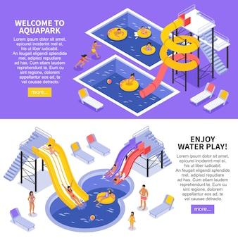 Aqua park banners set